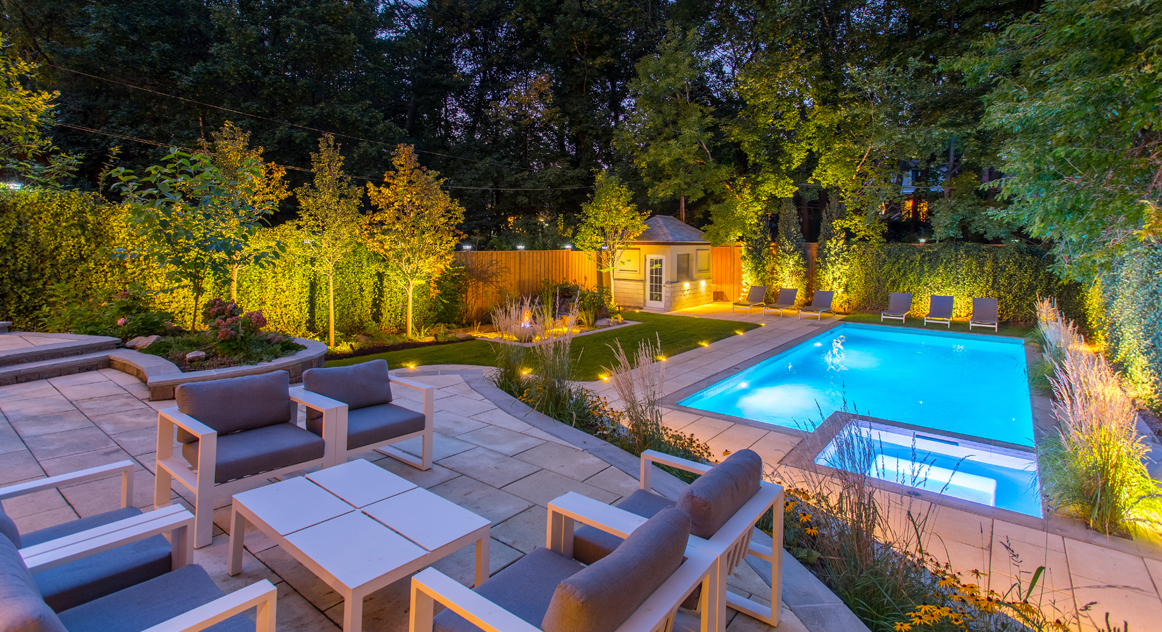Forest Hill Estate project involved modern backyard landscaping with a pool