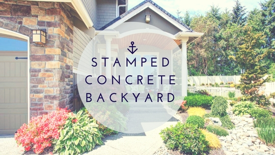 Stamped concrete backyard