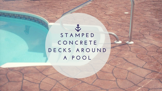 Stamped concrete decks around a pool